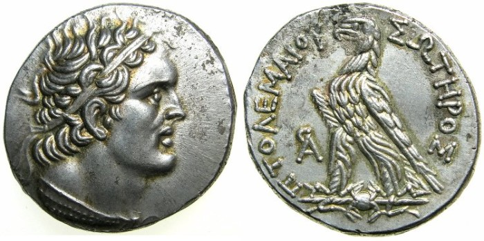 Ancient Coins - PTOLEMAIC EMPIRE.PHEONICIA.Ptlolemy VI 180-145 BC.AR.Tetradrachm.Struck 169/8 BC.Mint of ARADUS.~~~Attractive portrait of Ptolemy.