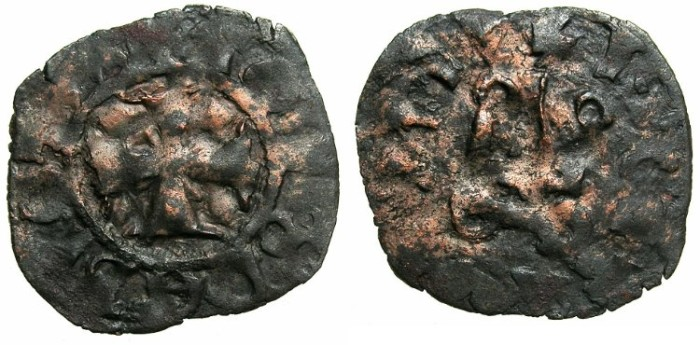 World Coins - CRUSADER STATES.GREECE.EPIRUS.John II Orsini AD1323-1335. Bi.Denier.Struck at the castle of ARTA.