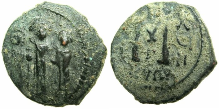 Ancient Coins - BYZANTINE EMPIRE.CYPRUS.Heraclius AD 610-641.AE.Follis AD 626-627.