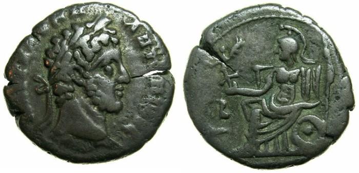 Ancient Coins - EGYPT.ALEXANDRIA.Commodus, Caesar under Marcus Aurelius AD 176-192.Billon Tetradrach, struck AD 181/82.~#~Roma seated.
