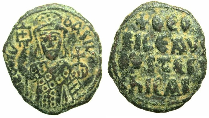 Ancient Coins - BYZANTINE EMPIRE.Theophilos AD 829-842.AE. Follis.Provincial mint, unknown location.