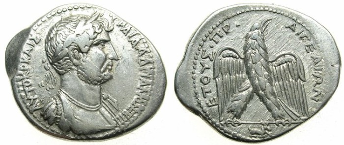 Ancient Coins - CILICIA.AIGEAI.Hadrian AD 117-138.AR.Tetradrachm.Bust right.Eagle, kneeling goat.