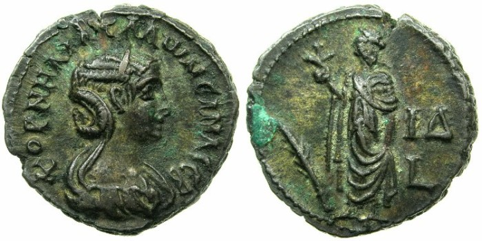 Ancient Coins - EGYPT.ALEXANDRIA.Cornelia Salonina, wife of Gallienus AD 253-268.Billon Tetradrachm, struck AD 266/67.~#~.Elpis standing left.