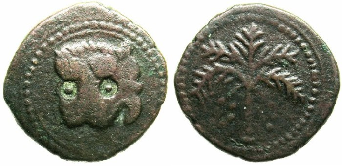 Ancient Coins - ITALY.SICILY.William II AD 1166-1183.AE.Trifollaro.Lions mask.Palm branch.