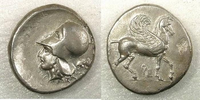 Ancient Coins - Corinthia Corinth AR Stater struck circa 405-345BC Pegasus standing