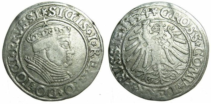Ancient Coins - POLAND.Sigismund I The Old AD 1506-1548.AR.Grosch 1534.Prussian mint.~~~attractive renaissance portrait.
