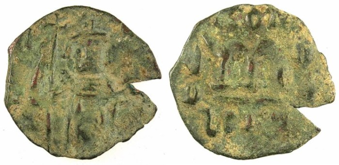 Ancient Coins - PSEUDO-BYZANTINE.7th Cent AD.AE.Folli. after Constans II ( AD 642-668).standing imperial figure.