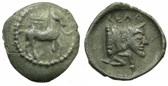 Ancient Coins - SICILY.GELA.Before 405BC.AR.Litrae.~~~Horse.~#~.Man- headed bull.