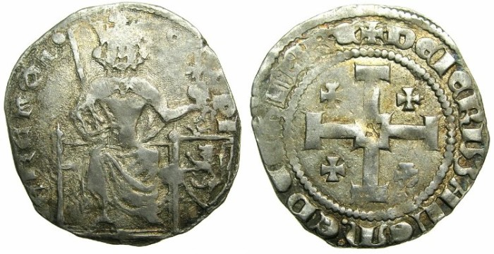 Ancient Coins - CRUSADER STATES.CYPRUS.Peter I AD 1359-1369.AR.Gros petit.