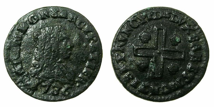 World Coins - ITALY.SARDINIA.Carlo Emanuele III 1730-1773.AE.Mezzo Cagliarese vecchio 1736.Mint of TURIN.