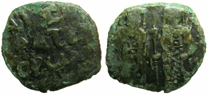 Ancient Coins - BYZANTINE EMPIRE. Andronicus II and Michael IX AD 1294-1320 or later.AE.Assarion.Class XIII.~~~Two Emperors.