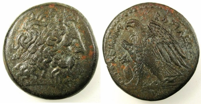 Ancient Coins - EGYPT.ALEXANDRIA.Ptolemy II Philadelphos 283-246 BC.AE.27.Zeus .Rev.Eagle.