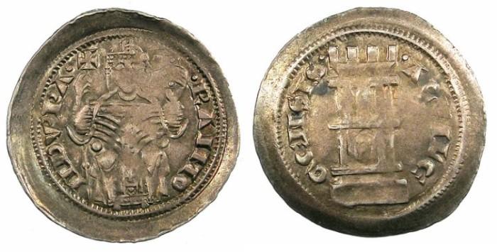 Ancient Coins - ITALY.AQUILEIA.Raimondo della Torre.AD 1278-1298.AR.Denaro con torre.issue of 1294.