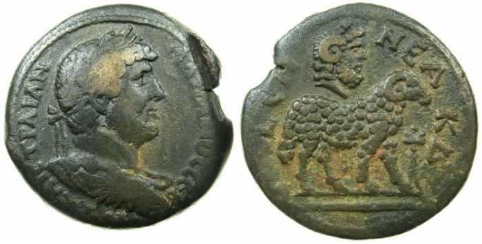 Ancient Coins - EGYPT.ALEXANDRIA.Hadrian AD 117-138.AE.Drachma, struck AD 134/135.~#~.Zeus-Serapis bust above Ram. **** Superb reverse for issue ****