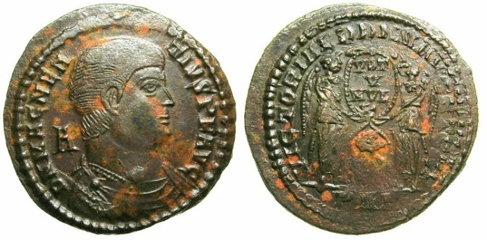 Ancient Coins - ROMAN.Magnentius AD 350-353..AE.Centinionalis.Mint of ARLES.~~~Two Victories.