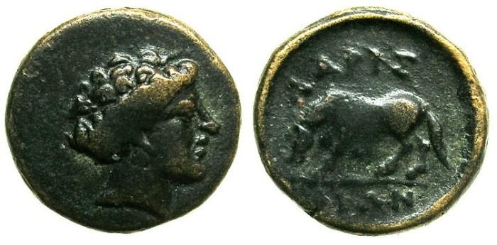 Ancient Coins - THESSALY.LARISSA.Circa 400-344 BC.AE.15.Nymph Larissa.Horse.