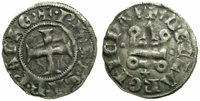 Ancient Coins - CRUSADERSTATES.GREECE. ACHAIA.Philip of Savoy AD 1301-1307.Bi.Denier.Type PS3.Mint of CORINTH.