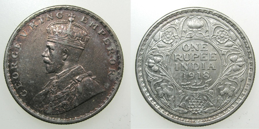 World Coins - INDIA, British Administration.George V 1910-1936.AR.Rupee 1918.