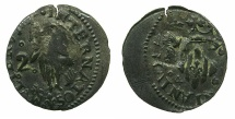 World Coins - FRANCE.PERPIGNAN. Louis XIV The Sun king 1643-1715.Billon 2 Sols 1646 ~Countermark Head of Baptist.