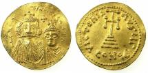 Ancient Coins - BYZANTINE EMPIRE.Constans II AD 641-668.AR.Solidus, struck circa 654-668. Mint of CONSTANTINOPLE. ****GERMANIC IMITATION? ****