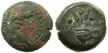 Ancient Coins - EGYPT.ALEXANDRIA.Claudius AD 41-54.AE.Obol, Struck AD 50/51.~#~right holding corn ears and poppies.
