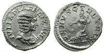 Ancient Coins - ROMAN.Julia Domna Augusta AD 193-217.AR.Denarius, struck under Caracalla circa AD 215-217.Mint of ROME.~#~. Venus enthroned.
