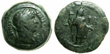Ancient Coins - EGYPT.ALEXANDRIA.Hadrian AD 117-138.AE.Obol, struck AD 126/27.~#~.Demeter standing holding torch,corn ear and poppy.