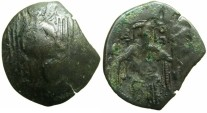 Ancient Coins - BYZANTINE EMPIRE.Michael VIII AD 1258/9-1282.AE.Trachy.Class XXVI.~#~The Archangel Michael.