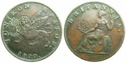World Coins - GREECE.IONION ISLANDS under Bristish Rule.AE.2 Lepta ( 1/2 obol ) 1820.~~~Scarcer date.