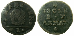 World Coins - ITALY.VENICE.Coinage for the Islands and Armed Forces.Anonymous.AE.Soldo.struck by decree 8th Feb.1686.***VERY RARE***