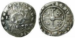 World Coins - CRUSADER STATES.CYPRUS.Hugh IV AD1324-1359.AR.Gros Grand. obverse. Unusal die shift.