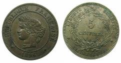 World Coins - FRANCE.Republic.AE.5 Centimes.1896A.