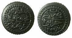 World Coins - OTTOMAN EMPIRE.ALGIRS.Mahmud II 1223-1252H ( AD 1808-1839 ).AE.5 Aspers 1237.Jaza'ir