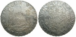 World Coins - MEXICO under SPAIN.Charles III 1760-1788.AR.8 Reales 1761 MM.Cross of crown between H and I of HISPAN.