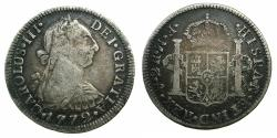 World Coins - MEXICO:under SPAIN.Charles III AD 1759-1778.AR.2 Reales.1772.Mexico city mint. First portrait coin. Assayer error FM inverted.