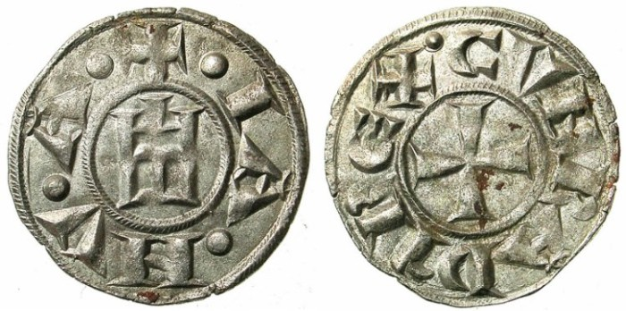 Ancient Coins - ITALY.GENOA.Republic 1139-1339.AR.Denier.