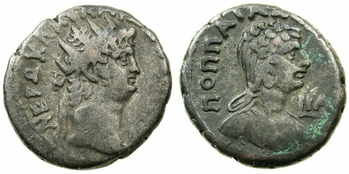Ancient Coins - EGYPT.ALEXANDRIA.Nero AD 54-68.Billon Tetradrachm.AD 64/65. ~#~.Bust of POPPAEA.
