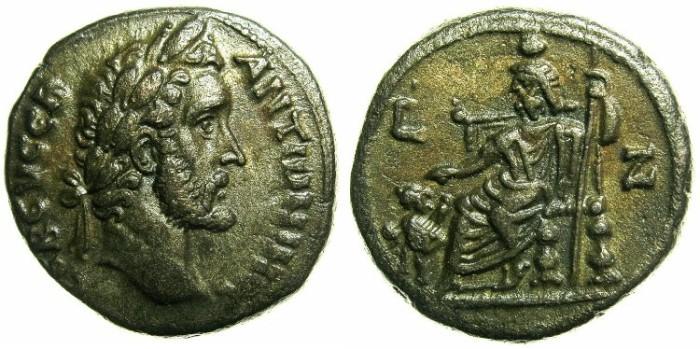 Ancient Coins - EGYPT.ALEXANDRIA.Antoninus Pius AD 138-161.Billon Tetradrachm, struck AD 143/44.~#~Serapis with Kerberos.
