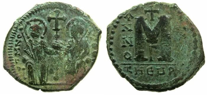 Ancient Coins - BYZANTINE EMPIRE.THEOUPOLIS-ANTIOCH.Justin II AD 565-578.AE.Follis,struck AD 571/572?