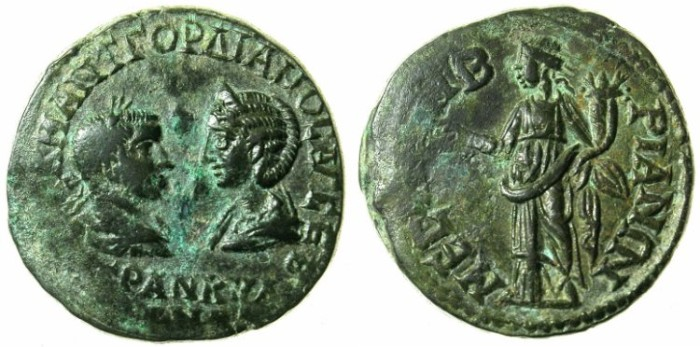 Ancient Coins - THRACE.MESEMBRIA.Gordian III and Tranquillina AD 241-244.AE.27.Homonia standing