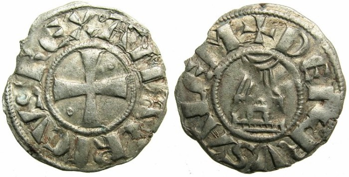 Ancient Coins - CRUSADER STATES.JERUSALEM.Amaury AD 1163-1174.Billon Denier.Class 8.Double barred letter As.