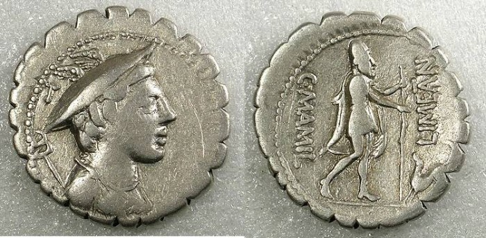 Ancient Coins - Rome Republic C.Mamilius Limetanus AR.Denarius Rev.Ulusses and his dog