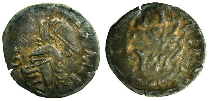 Ancient Coins - ROMANIA.Voivodes of WALLACHIA.Mircea I cel Batran AD 1386-1418.Bi.Denier. ....REVERSE BROCKAGE....