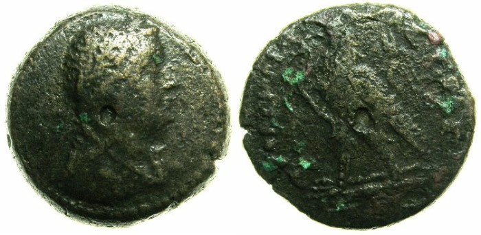 Ancient Coins - PTOLEMAIC EMPIRE.CORINTH, unkown location.Ptolemy III 246-221 BC.AE.20mm.~~~Laurate bust of Ptolemy III.