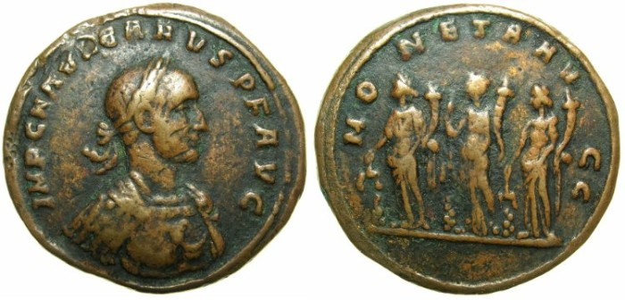 "Ancient Coins - ROMAN.Carus AD 282-283.AE."" 19th cent AD Paduan Medallion or  Sestertius""~#~MONETA."