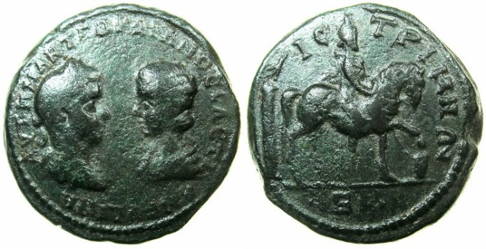 Ancient Coins - THRACE.ISTROS.Gordian III and Tranquillina AD 241-244.AE.5 Assaria.~#~.Mithras? riding right.