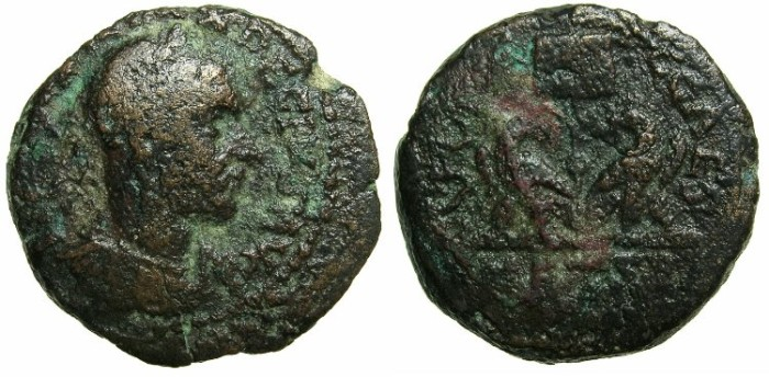 Ancient Coins - SAMARIA.Caesarea Maritima.Trajan Decius AD 249-251.AE.27mm.~#~.Vexillum between two eagles.
