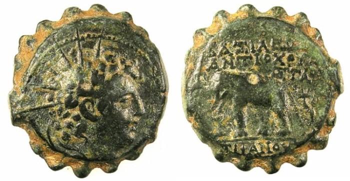 Ancient Coins - SYRIA.SELEUCIDS.Antiochus VI 144-142/1 BC.AE.20.Radiate bust.Rev.Elephant