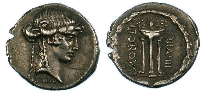 Ancient Coins - ROME Republic L.Manlius Torquatus 65BC AR.Denarius