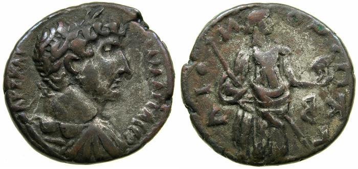 Ancient Coins - EGYPT.ALEXANDRIA.Hadrian AD 117-138.Billon Tetradrachm, contemporary copy.Year 22 ( AD 137/38 ). Reverse.Retrograde image and legend, PRONOIA.